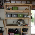 Garage shelving with roll out work bench