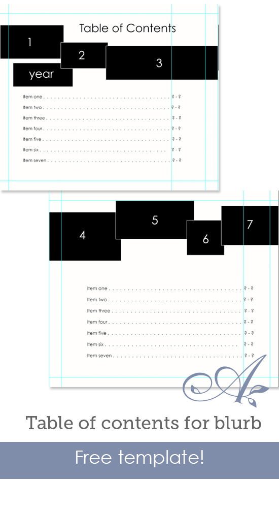 Table of contents for blurb for Blurb indesign template