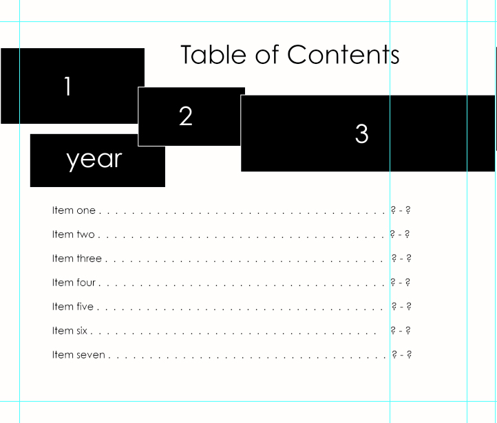 Table of Contents for Blurb – Table of Contents Template